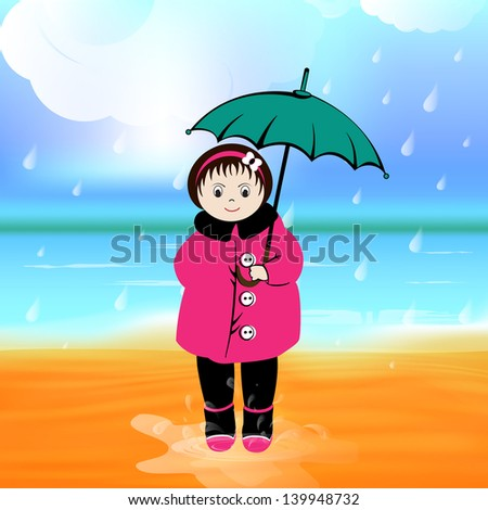 Rainy season background with cute little girl holding umbrella.