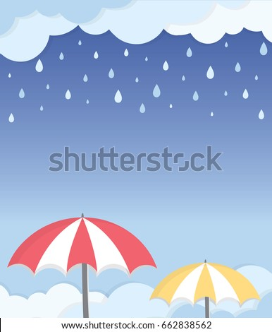 Rainy Season Frame Layout. Rain drop details with umbrella and cloudy background. Vector illustration isolated.