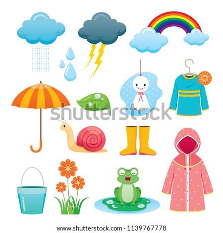 rainy season icons set  monsoon