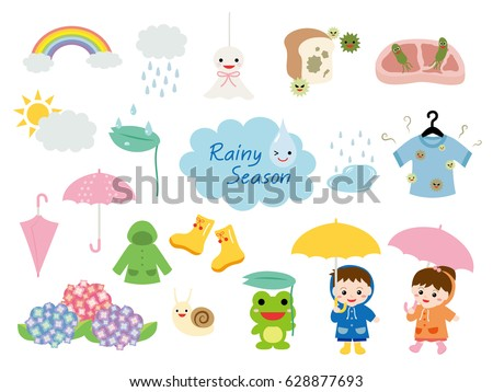 Rainy season illustration set.