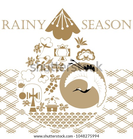 Rainy season template background. Japanese pattern vector. Gold geometric background. Crane, toy, tree, cherry blossom flower icons and elements.