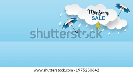 Rainy season theme product display podium. Design with clouds and raining drops on blue sky background. paper art style. vector. Foto stock ©
