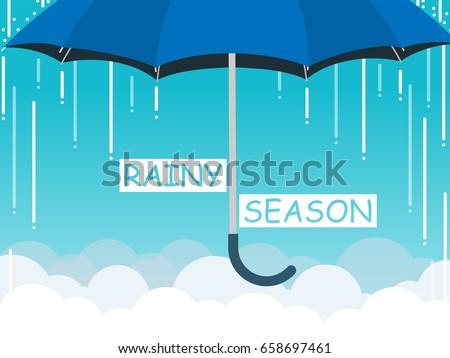 rainy season umbrella cloud sky vector