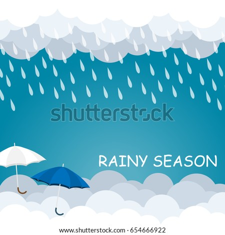 rainy season umbrella float on sky vector