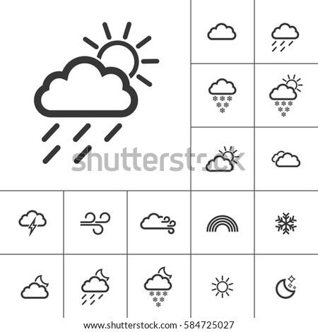rainy sunny. Weather Icons with White Background