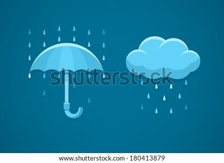 rainy weather flat icons with