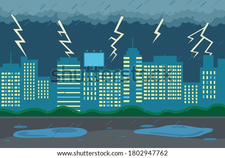 rainy weather in city at night