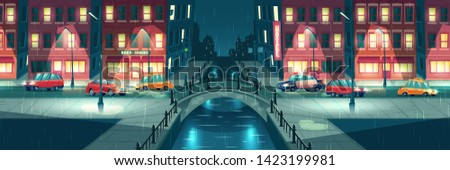 Rainy, wet weather in night town cartoon vector with cars going on city street illuminated by lampposts and signboards, crossing river or water chanel with retro architecture arch bridge illustration