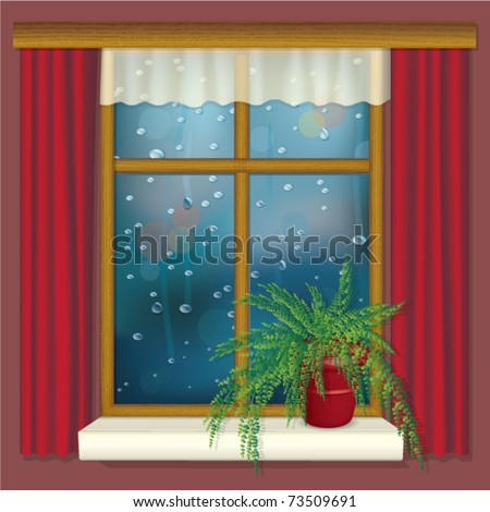 rainy window with curtains and