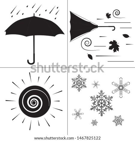 rainy windy snowy sunny weather icons