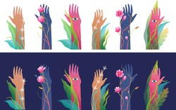 Raised arms hands and palms with eyes watching spiritual esoteric design separated on white. Mysterious surreal raised hands set, isolated clip art. Fantasy and mysticism hand drawn art for prints.