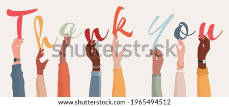 Raised arms of a group of diverse multi-ethnic people holding the letters forming the word Thank You in their hands.Teamwork.Gratitude and agreement between colleagues. Appreciation Foto stock ©
