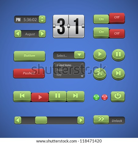Raised Buttons Green And Red UI Controls Web Elements: Buttons, Switchers, On, Off, Drop Down List, Arrows, Calendar, Date, Time, Clock, Power, Scroller, Player, Audio, Video: Play, Stop, Next, Pause