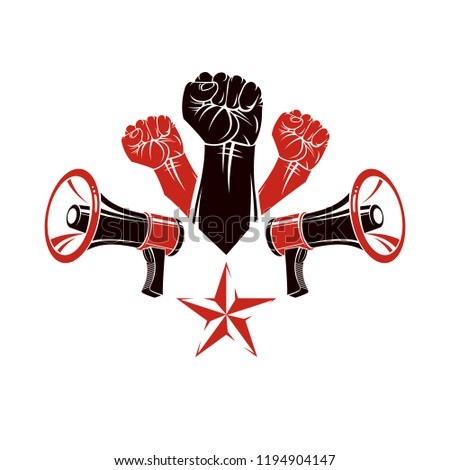 Raised clenched fists vector illustration composed with loudspeakers equipment. Public information campaign intended to encourage or discourage definite forms of people behavior.