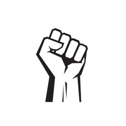 Raised fist - black icon on white background vector illustration for website, mobile application, presentation, infographic. Human hand up concept sign. Protest, victory, strength, power & solidarity.