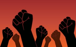 Raised fist hand of protesters people in flat icon design on red color background