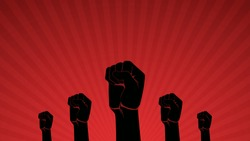 Raised fist hand protest in flat icon design on red ray color background