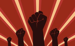 Raised Fist Hand Protesters in flat icon design on red color ray background