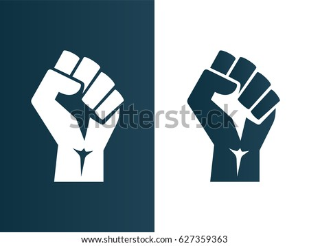 Raised fist logo icon poster - isolated vector illustration