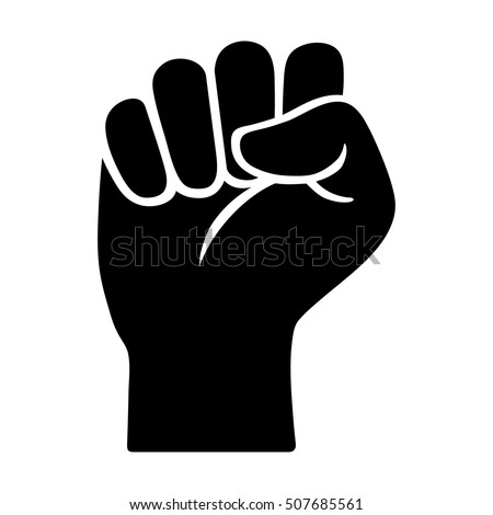 Raised fist - symbol of victory, strength, power and solidarity flat vector icon for apps and websites