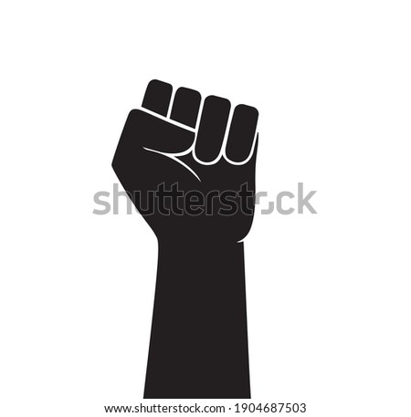Raised fist vector icon. Human hand up in the air. Сток-фото ©