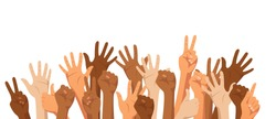 Raised hands of different race skin color isolated on white background. Diversity concept. Vector illustration.