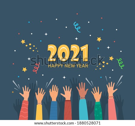Raised hands of happy people celebrating New Year 2021. Crowd of people at party. People celebrate. Firecrackers, confetti, fireworks, carnival. New Year greeting card. Vector illustration