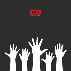 Raised hands vector poster on black background