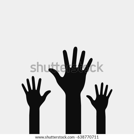 raised hands vector poster on
