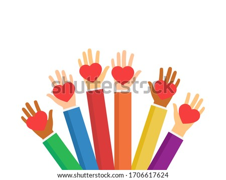 Raised hands volunteering stock vector isolated on white background.  Multiethnic society unity, togetherness. Volunteers, social workers holding red hearts. Charity and social help illustration. Сток-фото ©
