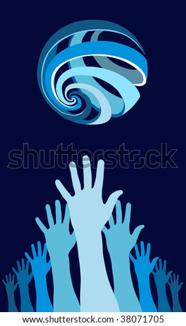 Raised hands with a world globe icon over them. Concept of harmony in the world. Blue background.