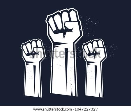 Raised three fists. Revolution Fist Raised In The Air.