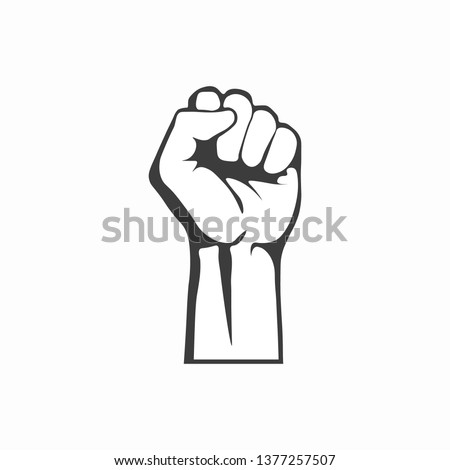 Raised up fist. Clenched fist icon. Vector illustration. EPS 10.