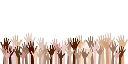 Raised up hands of different skin color vector illustration. Teamwork, collaboration, voting, volunteering concert. Diversity of human hands raised. Charity, crowd, workforce, community concept.