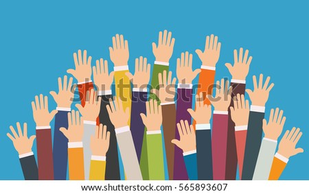 Raised up hands. Volunteering charity, concept of education,  business training.