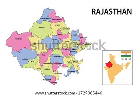 Rajasthan map. Political and administrative map of Rajasthan with districts name. Showing International and State boundary and district boundary of Rajasthan. Vector illustration of districts map.