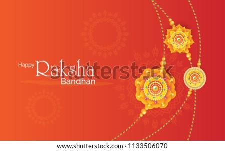 Rakhi Festival Background Design with Creative Rakhi Illustration - Indian Religious Festival Raksha Bandhan Background Vector Illustration