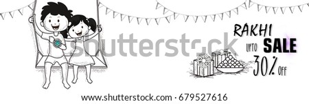 Rakhi Sale and Discount social media banner design. Hand drawn black and white illustration of cute kids on swing, sweets and gift boxes.