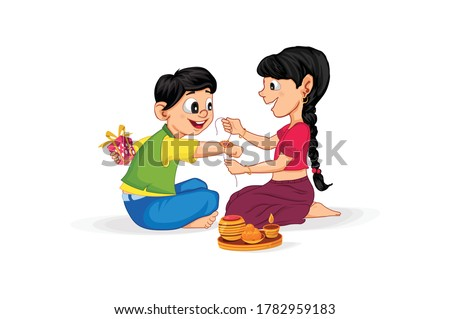 Raksha Bandhan, Sister is tying Rakhi on her brother's wrist, Rakhi celebration in india, Cute little sister and brother with beautiful background, Rakhi Festival colorful Background and Character.