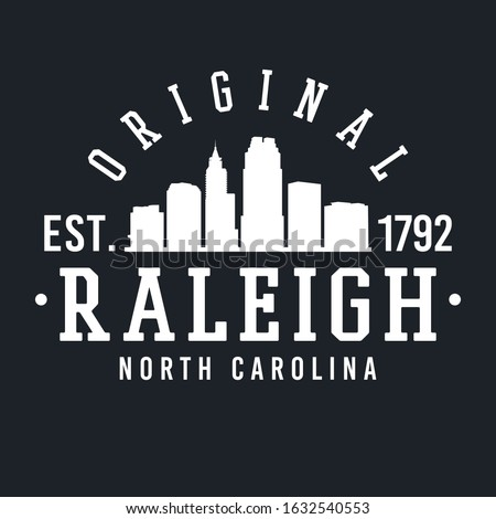 Raleigh North Carolina Skyline Original. Logotype Sports College University. Illustration Design Vector.  Stock fotó ©