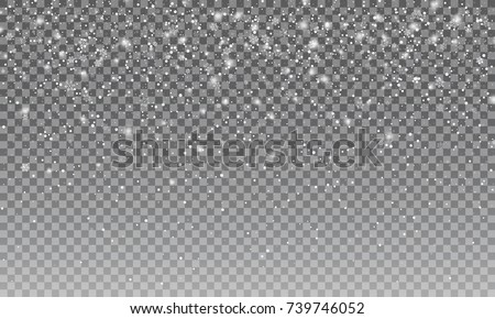 Ralistic snow. Vector transparent snow background. Christmas and New Year design element
