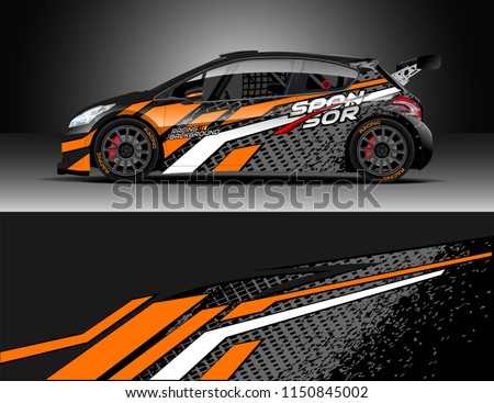Rally and drift car wrap design vector, truck and cargo van decal. Graphic abstract stripe racing background designs for vehicle, race, adventure and car racing livery.