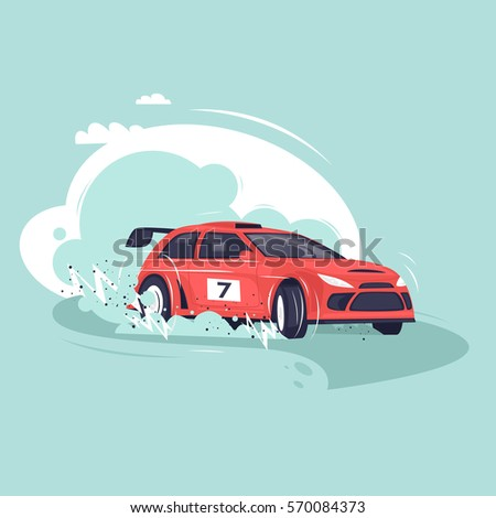 rally car flat vector