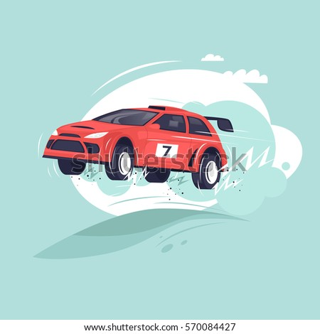rally car jumping flat vector