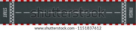 Rally races track with road marking. Car or karting sport racing road vector background with start and finish line checkered borders