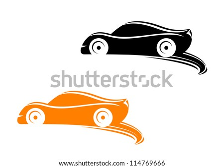 Rally racing cars in silhouette style with tyre shapes, such a logo template. Jpeg version also available in gallery