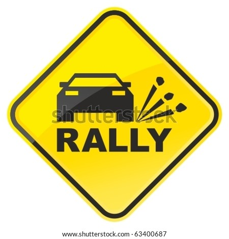 rally warning sign vector