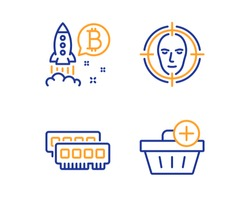 Ram, Face detect and Bitcoin project icons simple set. Add purchase sign. Random-access memory, Select target, Cryptocurrency startup. Shopping order. Business set. Linear ram icon. Vector