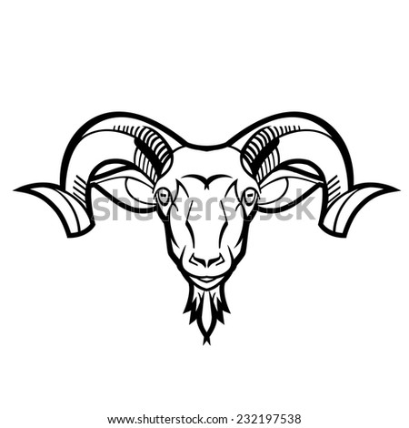 Sheep Horns Drawing Ram Head Twisted Horns