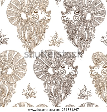 Rams Head Symbol Of The New Year Christmas Background Vector